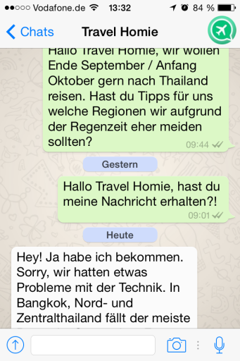 Reiseberatung über Whatsapp von Travel Homie